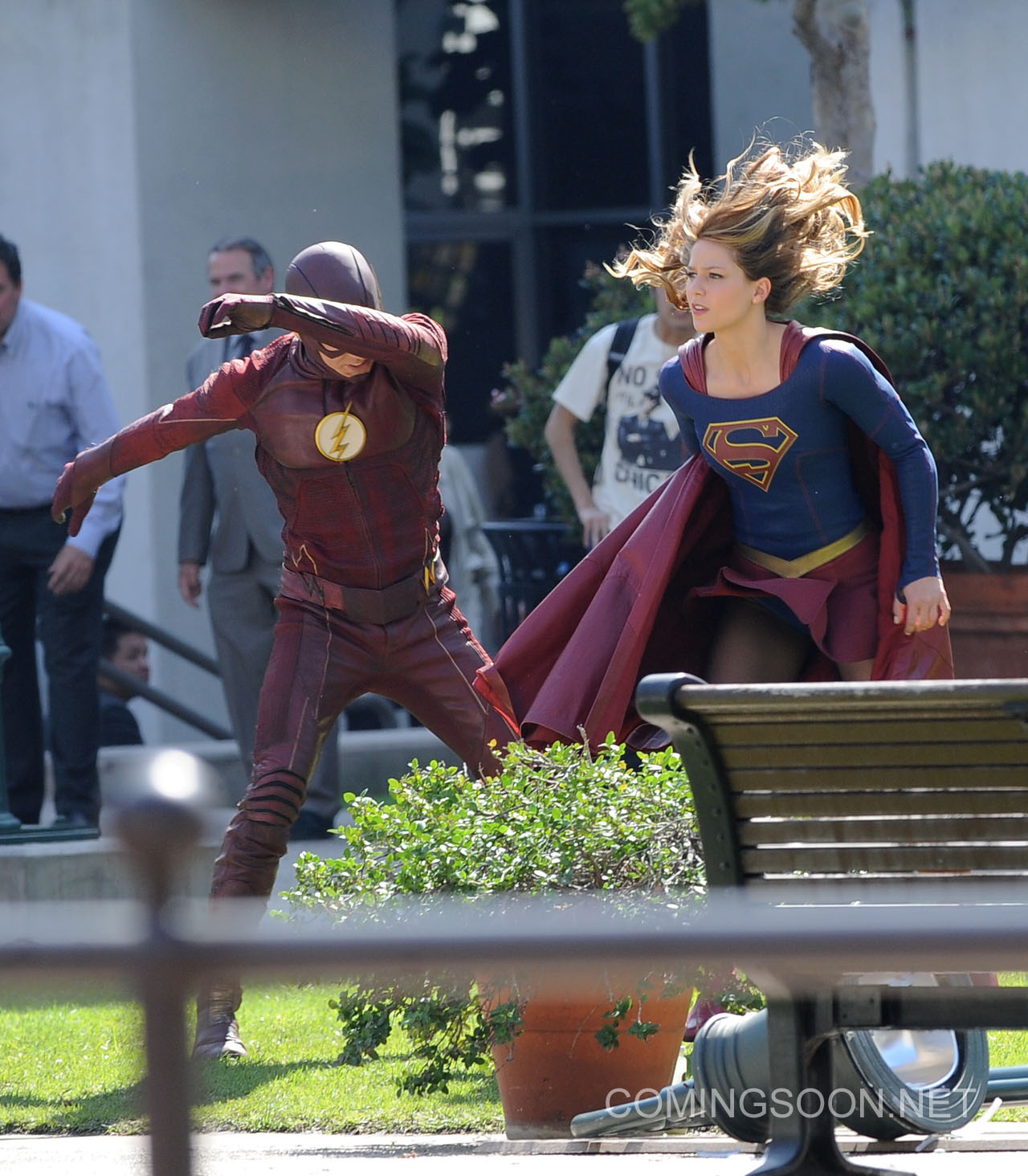 """Melissa Benoist get into character while filming new scenes for her hit show """"Supergirl"""" with special guest Grant Gustin as Flash for the special episode. Calista Flockhart was also seen on set in Los Angeles and was being saved by the 2 heroes as she gets hassled by 2 villains. Featuring: Melissa Benoist, Grant Gustin Where: Los Angeles, California, United States When: 23 Feb 2016 Credit: Cousart/JFXimages/WENN.com **Not avialable for publication in New Zealand and Australia**"""